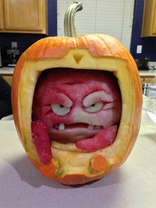 A watermelon Krang inside of a pumpkin body. One of the best pumpkins this year.