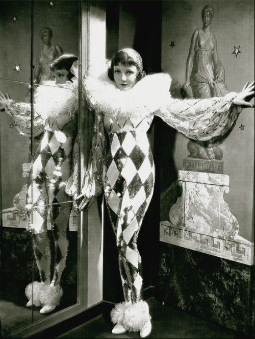 Claudette Colbert as a harlequin  c. 1930