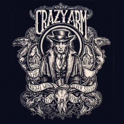 Recent tee commission for the band Crazy arm. Real fun to design:)! #tshirt #teedesign #philipharrisillustration #drawing #design #art #illustrator #illustration