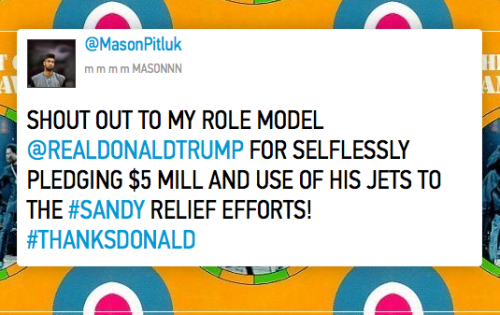 huffpostcomedy:  Twitter trolls are trying to pressure Donald Trump into donating $5 million to Sandy relief and it's beautiful  Go on. Troll for a good cause. (Context)