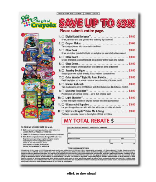 Great rebate available now through Holiday season from Crayola