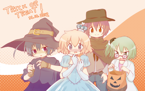 yogurtmedia:  Quick SketchTrick or Treat!Happy Halloween, everyone! I hope everyone has a great and safe time today!This was a fun picture to work on. I took the opportunity to draw all four of these characters together, since I rarely do so. It's nice to see them dressed up for Halloween.