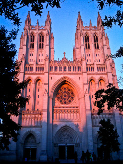 National Cathedral looking beautiful at dusk.