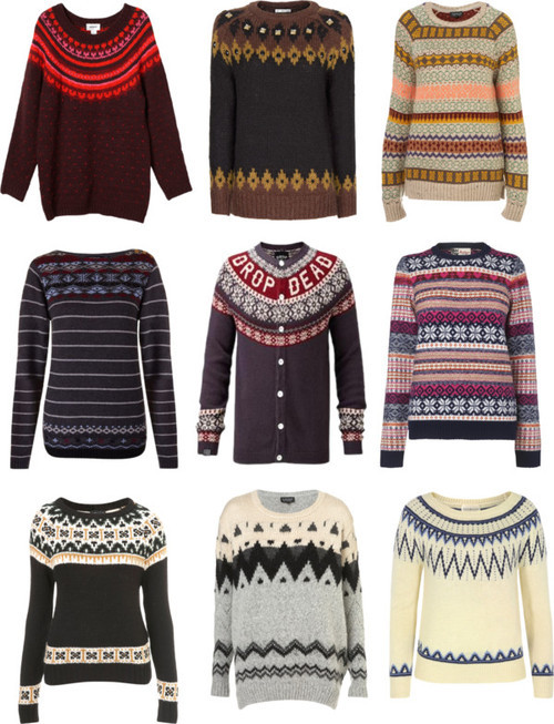 character-inspired-fashion:  Fall love: Patterned jumpers  DUDE WHAT