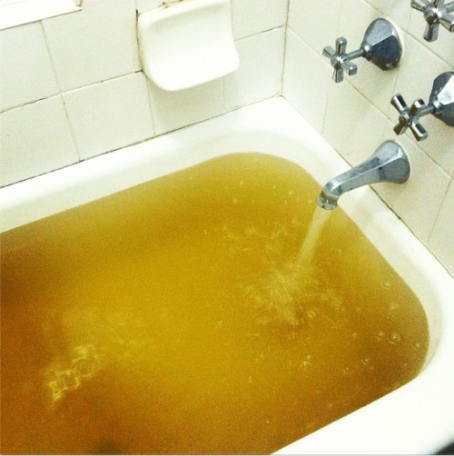 Tap water in Greenpoint appears to be contaminated from the Wastewater Treatment Plant.
