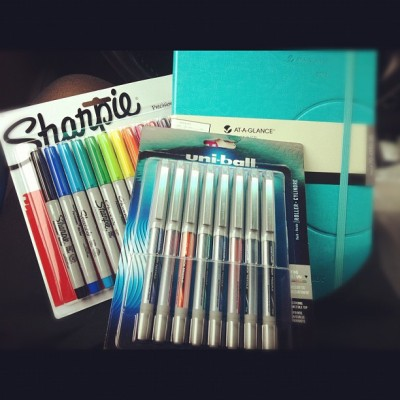 christinacarmen:  :D So I had fun at Staples… #nerd #pensfordays #sharpie #color #planner