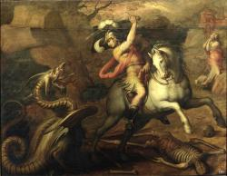 hadrian6:  St.George slaying the dragon. 1551. Giorgio Vasari. http://hadrian6.tumblr.com