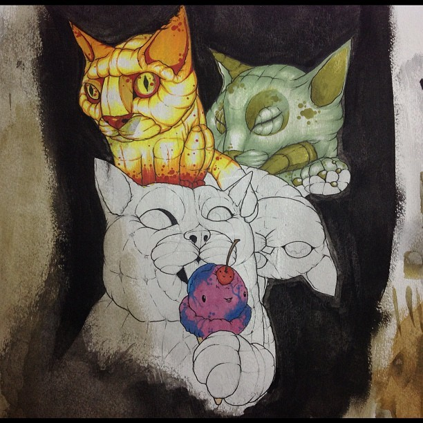 Work in progress!! I wish I had a cat's life. All they do is sleep and eat😿 #experiment #art #sketch #randomidea #cat #cats #icecream #pencil #watercolors #copic #markers #wip #effsandyshmandy