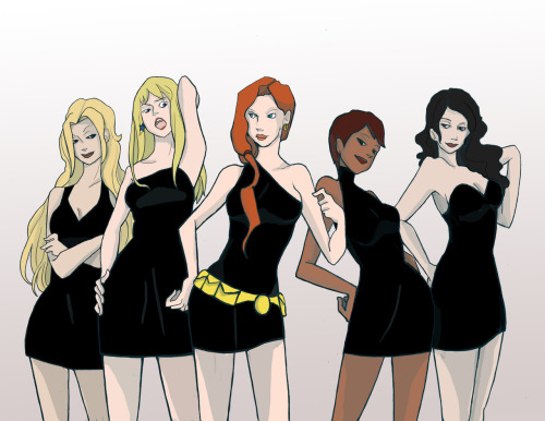 the-gods-mouth:  Young Justice Fem Fatals Colored! From left to right. Artemis (with her hair down), Cassie, Barbara, Karen (bumblebee), and Zatanna.