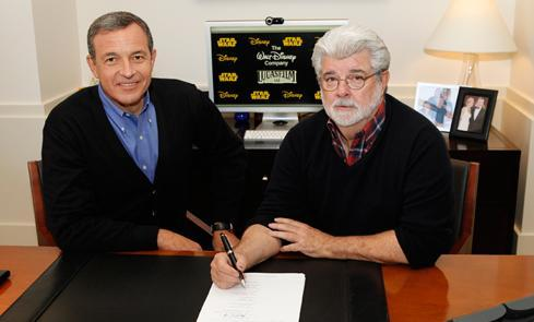 "lexcanroar:  George Lucas signs over Lucasfilm to Disney, who plan to release Star Wars: Episode 7 in 2015. his hand is signing his name but his eyes whisper ""I'm sorry""  I'M EXCITED THOUGH. I LOVE THE POST-ROTJ TRILOGY AND I HOPE IT'S MADE INTO A MOVIE! THRAWN! PRIME MINISTER LEIA! JEDI ACADEMY! SOLO KIDS! ME GUSTA."