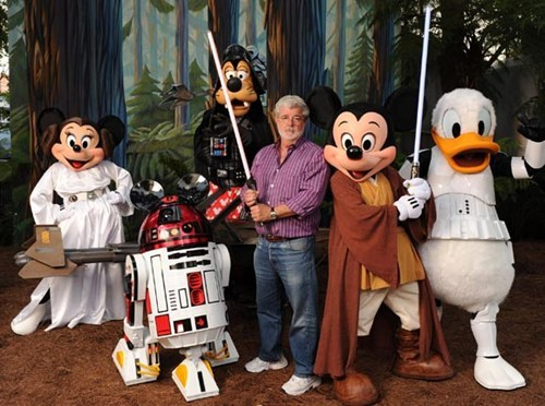 thedailywhat:  Breaking News of the Day: Disney Buys Lucasfilm, Says 'Star Wars Episode 7' In 2015: For a cool $4.05 billion, Disney just scooped up Lucasfilm Ltd and Star Wars, putting them on the shelf next to Marvel, ESPN, ABC, and Pixar.  The second bombshell in the press release announced Star Wars: Episode 7 with a targeted 2015 release.  Wow. That's a lot to process. Thoughts? [cartoonbrew]