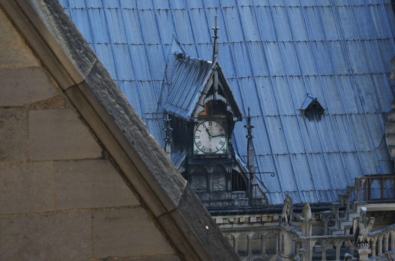 Rooftop clock. Notre Dame, Paris, France