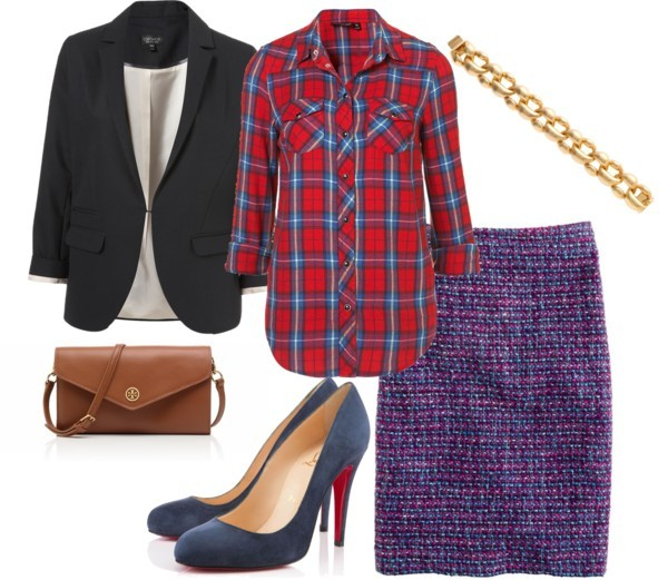 Plaid for work by meljparrish featuring round toe heels