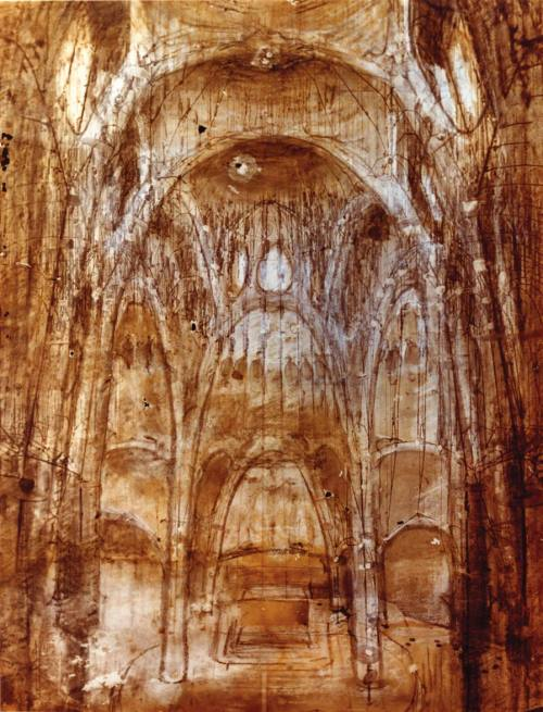 drawingdetail:  Antonio Gaudí (1852–1926), Colonia Güell Church. Study for the nave of the church drawn on an inverted photograph of the funicular model. One of the few remaining sketches by Gaudí. Catedra Gaudi, Barcelona.