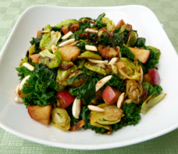 findvegan:  Brussels sprout, apple & kale saute
