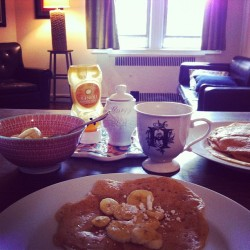 Banana and honey crepes at the Haberkern home this morning, with @chaber20.