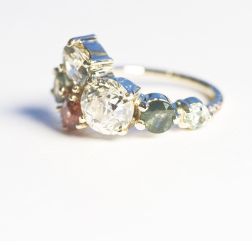 mociun:  Custom MOCIUN Diamond, Aqua and Sapphire Customer Engagement Ring in 14K yellow gold.