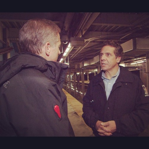 Brian Williams interviews NY Governor Andrew Cuomo in the flooded World Trade Center PATH station #Sandy