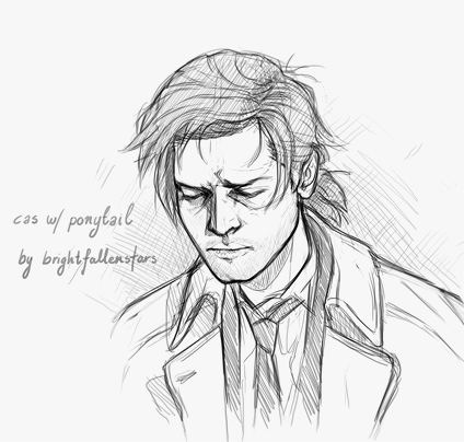 brightfallenstars:  Castiel with a ponytail, as suggested by mybrothersam. Thank you so much for suggesting it! The idea was simply too interesting not to draw.Castiel's hair is always gonna be messy. No matter how long it gets. :D