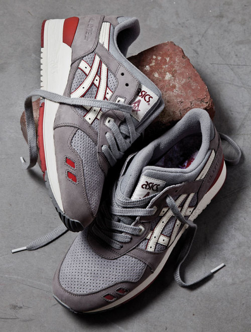 HAL x Asics - Brick and Mortar Pack the Gel Lyte III in a grey mortar colourway and the GT-II in a deep red brick colourway.  both really clean simple looks. click here for more pics Related articles Ronnie Fieg x ASICS Gel Lyte III 'Total Eclipse' | New Images (sneakerfiles.com)