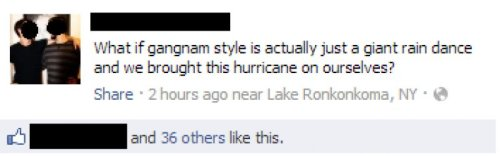 Oppa Hurricane Style Psy is actually a powerful rain god.