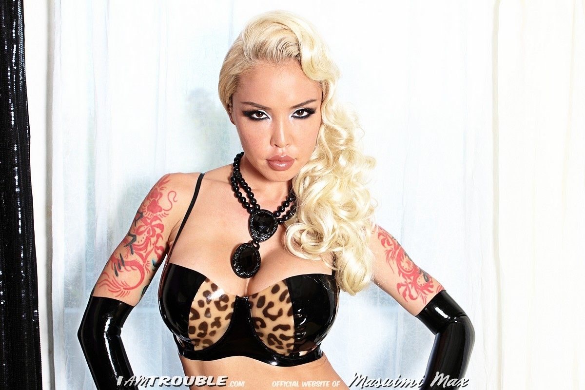 Masuimi Max in latex lingerie - Catnip from her site iamtrouble.com
