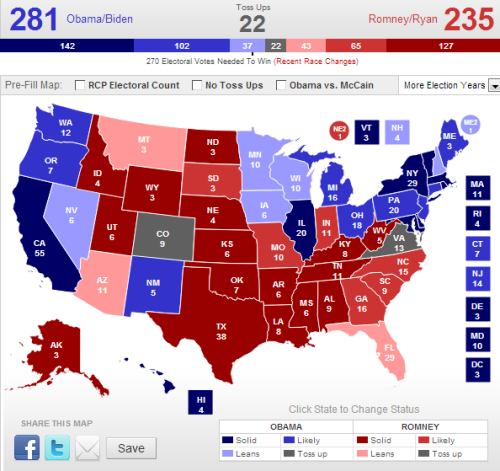 I put this together using the Electoral College tool at Real Clear Politics using RCP's most current polling data. Only two states are dead ties - Colorado and Virginia - and they're represented in grey. Pink and light blue states are leaning one way within a 1-2% margin, and dark pink and royal blue states are leaning one way with a margin greater than 3%.  Should Romney win both Colorado and Virginia, the final electoral count would be 281-257, a clear victory for Obama. Should Obama win both states, the count would be 303-235 - again, victory for the Democrats.  The important thing to take away here is that based solely on the most current polling data, a Romney win seems unlikely. At this point, far more states are leaning blue than leaning red. The race will hinge on vote counts in Florida, New Hampshire, Nevada, Minnesota, Wisconsin, Arizona, and Iowa. If you live in those states, go vote, and bring all your friends and family with you.