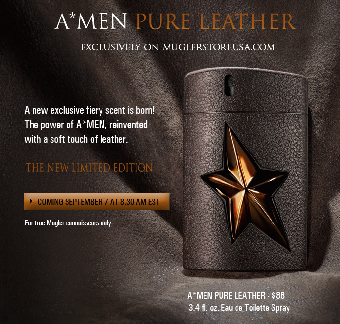 "Thierry Mugler, A*MEN Pure Leather On the 20th anniversary of Thierry Mugler Parfums, A*MEN is reinvented in a daring collision of rich leather with A*MEN's empowering and fiery scent. In a truly innovative process, this distinctive 100 ml / 3.4 fl. oz. A*MEN Eau de Toilette was aged in leather tanks, sublimating the fragrance with the virile masculinity of rich leather. After four weeks of Maturation on contact with new leather, A*MEN Pure Leather has a new leather dimension brought to life by animalistic undertones. - Patchouli, vanilla and Arabica coffee sign thee sensuality and virility of this uncommon ""oriental woody vigorous"" scent -The patchouli becomes softer, more mysterious and more rounded    A*MEN Pure Leather is encapsulated in a collectible textured rubber spray sporting a fierce iconic star. The handsome bottle is showcased in a refined box with a distinctive leather - like quality that echoes the inspiration of the collection."