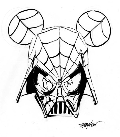 Spider-Vader-Mickey sketch by Mike Mayhew