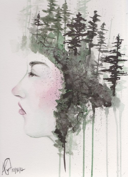 """Sometimes, even the snow is sad."" Water colours and sumi ink."
