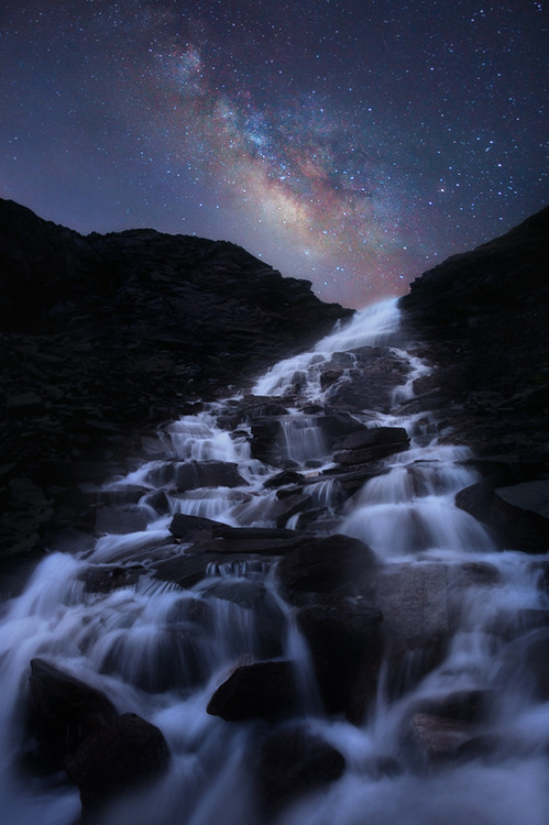 Milky Way Waterfall,  Graian Alps, Italy photo via astratos