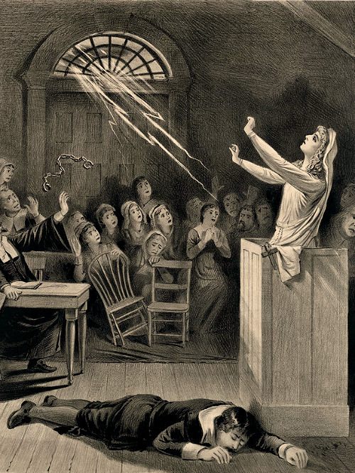 Lithograph by Joseph E. Baker showing the trial of a woman charged with witchcraft, Salem 1892
