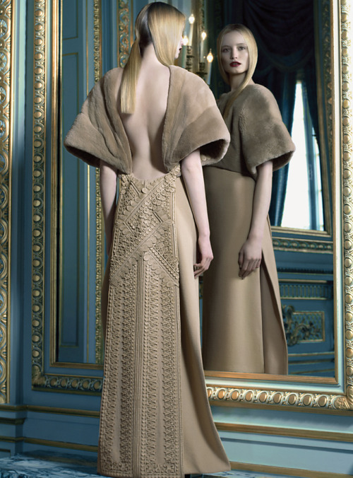 par-riccardo-tisci:  In My Castle: Maud Welzen in Givenchy Fall 2012 haute couture; photographed by Benjamin Kanarek for Harper's Bazaar Spain, November 2012.