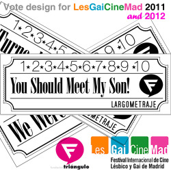 [Vote Design for LesGaiCineMad 2012] Un diseño con aroma añejo para un festival rabiosamente actual. Tras la buena acogida que tuvo el diseño de los tickets-votos de la edición de 2011, el Festival LesGaiCineMad ha elegido repetir con nuestro diseño para su edición de 2012.Largometrajes, Cortometrajes, Documentales y Video Arte volverán a lucir sobre nuestro diseño  The design of the Votes&Tickets for LesGaiCinemad, with its retro cinema style is back in 2012 after its popularity in the 2011 edition of this international film festival