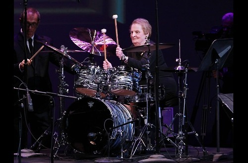 Former secretary of state Madeleine Albright on drums. I love this world.
