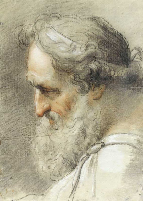 classicaldrawing:  Gaetano Gandolfi (Italian, 31 August 1734 – 20 June 1802) Study of bearded male head Black, white and red chalk on paper 1797
