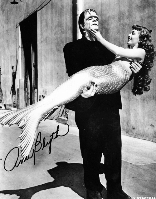 "Ann Blyth in costume for ""Mr. Peabody and the Mermaid"" and Glenn Strange in costume for ""Abbott & Costello Meet Frankenstein"" 1948"