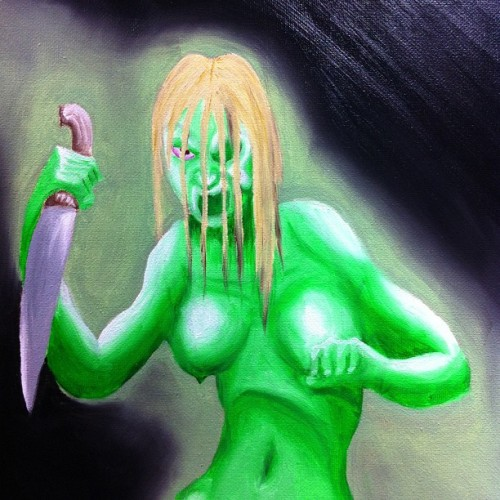 I'm in a #Halloween kinda #painting mood #WIP #witch #scary #knife #evil #oils