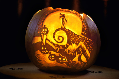 "The Nightmare Before Christmas Pumpkin by Saphrian ""My first Halloween Pumpkin. Inspiration from ""The Nightmare Before Christmas"" by Tim Burton."""