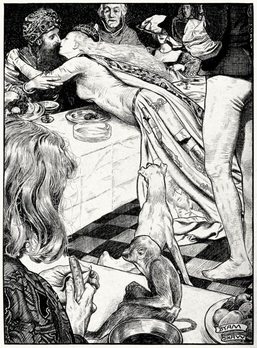 oldbookillustrations:  She threw herself across the table and embraced him. Byam Shaw, from Tales from Boccaccio, done into english by Joseph Jacobs, London, 1899. (Source: archive.org)