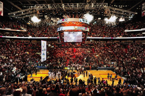 nba:  The Miami Heat 2012 NBA Championship banner is raised during a ceremony prior to the game against the Boston Celtics on October 30, 2012 at American Airlines Arena in Miami, Florida. (Photo by Garrett W. Ellwood/NBAE via Getty Images)