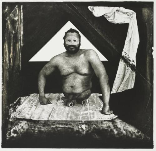 cavetocanvas:  Joel-Peter Witkin, Man with No Legs, 1984 From the Cleveland Museum of Art:  For almost four decades, Witkin has staged and photographed bizarre scenes, often incorporating people with physical deformities and severed limbs. Referring to art history and classical mythology, he manipulates his prints to create the rich surface quality usually acquired through age. Although Witkin's photographs focus on disenfranchised members of society, they also reveal the humanity of his subjects.