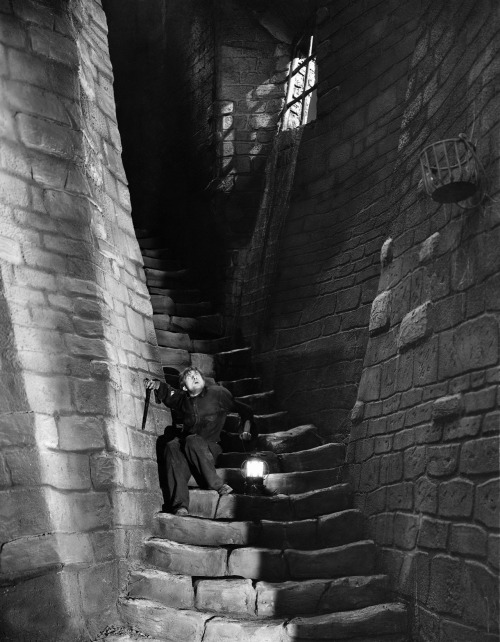 Dwight Frye in Frankenstein (1931, dir. James Whale) Set design by Herman Rosse & Charles D. Hall (via)
