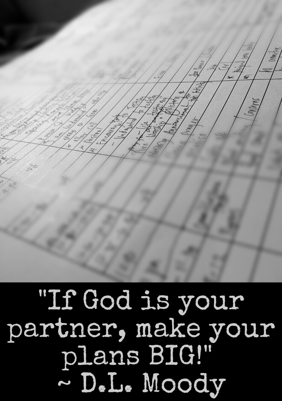 """If God is your partner, make your plans BIG!"" ~D.L Moody"
