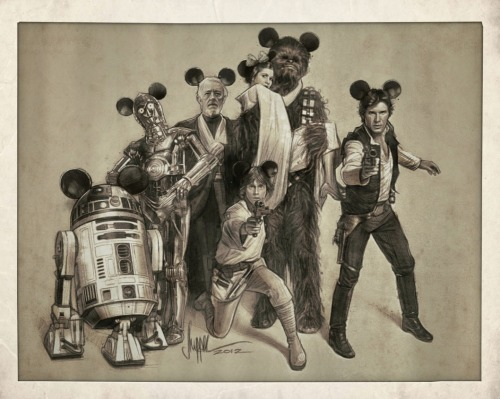 "Due to the whole Walt Disney Company acquiring Lucasfilm Ltd. for 4.05 billion dollars today, artist Paul Shipper turned his original Star Wars piece titled The Gang's All Here into an excellent Star Wars / Disney variant. Princess Leia can now ""officially"" be a Disney Princess. haha! Star Wars / Disney Illustration by Paul Shipper (Facebook) (Twitter) via paulshipper"