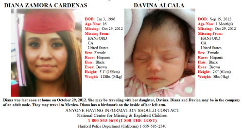 "Help find DIANA ZAMORA CARDENAS, age 16 and her 1-month-old daughter DAVINA ALCALA Missing from HANFORD, CALIFORNIA since 10/29/2012. Details: Diana was last seen at home on October 29, 2012. She may be traveling with her daughter, Davina. Diana and Davina may be in the company of an adult male. They may travel to Mexico. Diana has a birthmark on the inside of her left arm. ANYONE HAVING INFORMATION SHOULD CONTACT National Center for Missing & Exploited Children at 1-800-843-5678 (1-800-THE-LOST) or Hanford Police Department at 1-559-585-2540. DIANA ZAMORA CARDENAS: DOB: Jan 3, 1996 Age Now: 16 Missing: Oct 29, 2012 Missing From: HANFORD, CA United States Sex: Female Race: Hispanic Hair: Black Eyes: Brown Height: 5'1"" (155cm) Weight: 118lbs (54kg) DAVINA ALCALA DOB: Sep 19, 2012 Age Now: 1 Month(s) Missing: Oct 29, 2012 Missing From: HANFORD, CA United States Sex: Female Race: Hispanic Hair: Black Eyes: Brown Height: 2'0"" (61cm) Weight: 8lbs (4kg)"