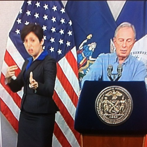 Caption Mayor Mike Bloomberg's sign language translator