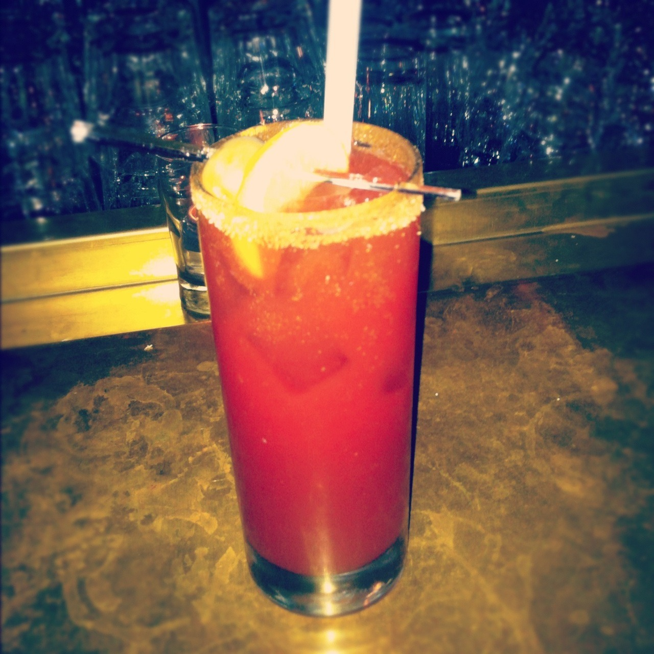 Bloody Caesar @ Furco 425, Mayor, Montreal ( Near Quartier des Spectacles) 6/10 Notes : Well, I had to go to Furco. Because everybody goes to Furco. It's the new thing in town. Rad place. Will definitively go back, but not for the Bloody Caesar. It was ok. No more than that. But the view was lovely - and by the view I mean the crowd - so I didn't really care.