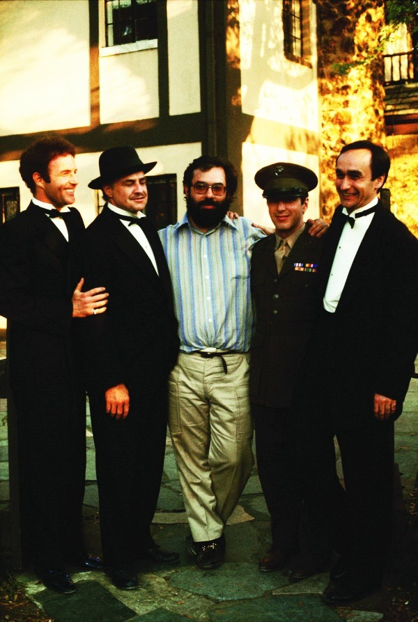 marlonbrando:  James Caan, Marlon Brando, Francis Ford Coppola, Al Pacino and John Cazale photographed by Steve Schapiro during the filming of The Godfather, 1971.