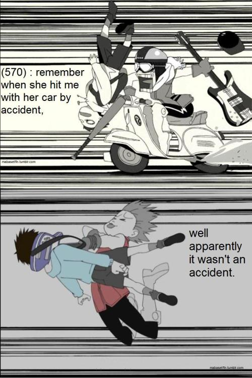 "Image description: a pair of scenes from the first and last episodes of FLCL, ""FLCL"" and ""FLCLimax"". First scene is Haruko Haruhara running into Naota Nandaba with her vespa, a surprised and displeased expression on her face. Second image is Haruko hitting Naota with her guitar, a joyous expression on her face. Text reads (570) : remember when she hit me with her car by accident, well apparently it wasn't an accident. End text."
